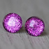 Fake Plugs : Bright Fuschia Glitter Stud Earrings, Neon, Sparkle, Painted, Handmade, Unique, Galaxy Studs, 9mm