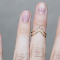 Midi Rings : Set of 2 Thin Gold Chevron Rings, Knuckle Ring, Thin Rings, Stacking Rings