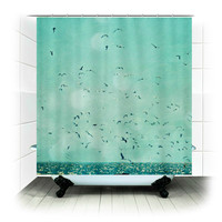Fabric Shower Curtain  - I Love to be by the Sea -  Photography, bathroom, home, decor, ocean, beach, blue, birds, sea
