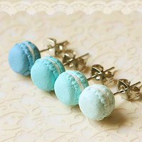 Food Earrings - Macaron Earrings In Lagoon Blue Series