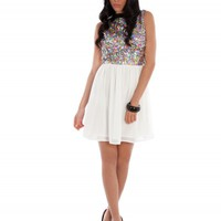 Cream Multi Colour Neon Sequin Dress | Dresses | Desire