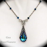 Victorian Bermuda Blue Crystal Necklace Filigree by AzureTreasures