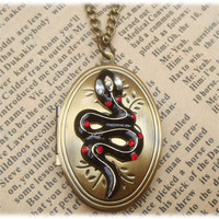 Steampunk Snake Locket Necklace Vintage Style by sallydesign