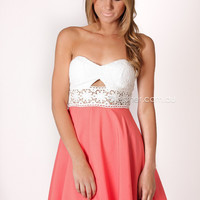 Pre-order - rosa lace cocktail dress - white/coral - arrives mid september at Esther Boutique