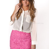 pre-order - bingle lace mini skirt - pink - arrives end of august at Esther Boutique
