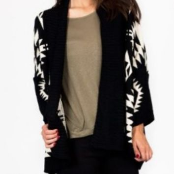 aztec printed flyaway cardigan SM BLACKCREAM