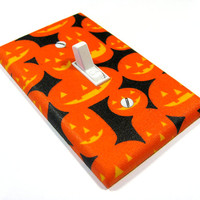 Pumpkin Halloween Decor Light Switch Cover Orange Jack O'Lantern Decoration