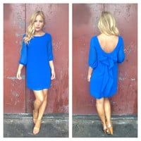 Royal Blue 3/4 Sleeve Bow Back Dress