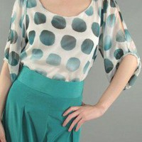POLKA DOT OPEN SLEEVE BLOUSE-Dressy-Womens Dressy Tops,Dressy Top For Women,Fashion Dressy Tops,Trendy Dressy Tops,Promo Dressy Tops