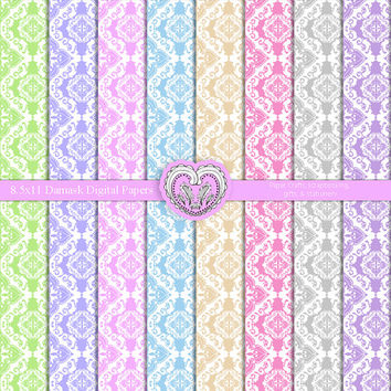 Preppy Damask Digital Patterns 8.5x11 for Digital Scrapbooking and Crafts