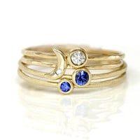 Crescent Moon Sapphire and Diamond Stacking by ScarlettJewelry