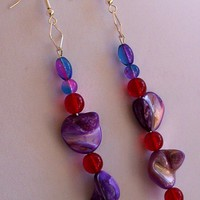 Earrings, Purple Red Beads, Drop Earrings