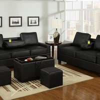 A.M.B. Furniture & Design :: Living room furniture :: Sofas and Sets :: Sofa Sets :: 2 pc Black leather like vinyl sofa and love seat set with center drop down arms