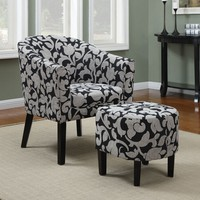 A.M.B. Furniture & Design :: Living room furniture :: Accent chairs :: 2 Pc Dark finish wood frame barrel shaped accent side chair and ottoman with dark damask upholstery