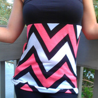 Chevron top, black, white, and coral jersey knit