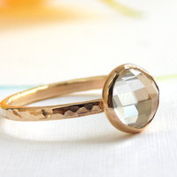 Rose Cut White Topaz Ring:  14K Solid Gold ring, white topaz, egagement ring, wedding ring