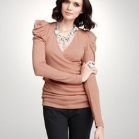 Ruched Shoulder Top: ANN TAYLOR