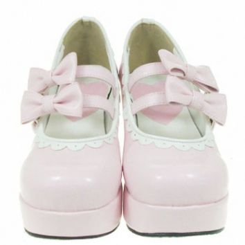 pink  High heels Platform PU Womens Lolita Shoes