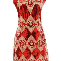 ROMWE | Retro Baroque Beaded Red Dress, The Latest Street Fashion