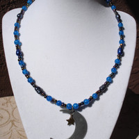 Crescent Moon and Star Pendant Beaded Necklace - Freshwater pearls - glass beads - antique silver - antique gold -  blue - black - halloween