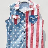 Retro Sleeveless Americana Denim Vest