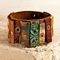 OOAK Leather Cuff Original Limited Rare by rainwheel on Etsy