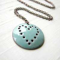 Turquoise Blue Heart Necklace Enamel On Copper by happyment