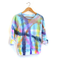 "SAMPLE SALE - The Original ""Splash Dyed"" Crew Neck Fleece Raglan Sweatshirt in Crazy Plaid Rainbow Stripe - L"