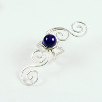 Ear Cuff Amethyst and Sterling Silver Swirly by ShutUpAndCuffMe