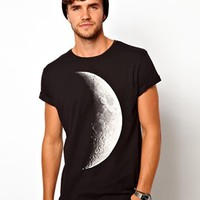 ASOS T-Shirt With Half Moon Print And Rolled Sleeve at asos.com
