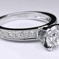 Engagement Ring - Diamond Engagement Ring Vintage diamond band beaded edges in 14K White Gold - ES763
