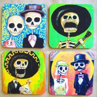 Day of the Dead COASTERS  Set of four by FlowerOfTheDead on Etsy