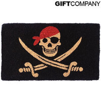 Pirate Doormat ? skull & crossbone door mats ? black & red mat