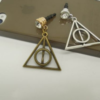 1PC Harry Potter Retro Bronze Deathly Hallows Antidust Earphone Jack Charm for iPhone 5 & 4,Samsung S4, S3, Nokia Lumia 920