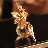 Angel on Crystal Ball Earphone Charm Anti Dust Plug for iPhone 5 & 4, Galaxy S3-1PC, Eco-friendly Plated Real Gold
