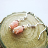 Dainty Peach Tulip Coral Gemstone Sterling Silver Earrings | LittleApples - Jewelry on ArtFire