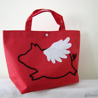 When Pig Flys In Easter Red Small Tote Bag by RaineStyleHome