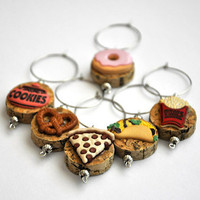Wine Bottle Cork Wine Glass Charms  Snack Time Party by TipsyGLOWs