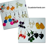 1st class Beaded Tagua Earrings, Assorted, Dozen | Beaded Jewelry by the dozen