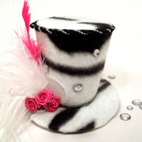 Mini Top Hat / Fascicnator Zebra Diva OOAK by bloomandbling