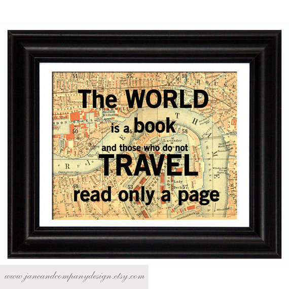 World is a Book Vintage Map Art Library by JaneAndCompanyDesign