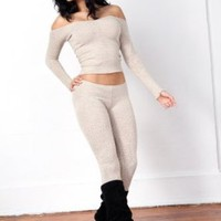 Oatmeal Sexy Stretch Knit Boat Neck Top & Low Rise Tights Outfit by KD dance, Fashion Versatile, Unique, Soft, Warm & Cozy Yet Durable, Made In New York City USA