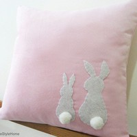 Two Little Lovely Rabbits Soft Pink Pillow Cover by RaineStyleHome