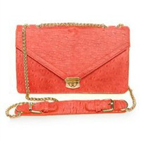 Coral Ostrich Purse- Coral Purses- Cute Vegan Purse- $46