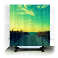 Fabric Shower Curtain  - Walk in Love - Photography, bathroom, home, decor, beach, nature, sand dune, path, beach