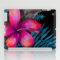 Pink Hibiscus Flower - BLACK iPad Case by Schatzi Brown