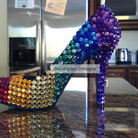 Custom Rainbow Bling Heels by DaedreamDesigns on Etsy