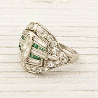 Platinum Diamond and Emerald Art Deco Ring | Shop | Erstwhile Jewelry Co.