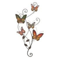 Butterfly Hand Painted Metal Wall Art 29&quot;h, 15&quot;w