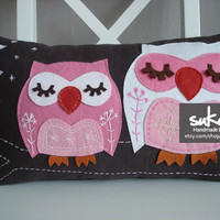 Sukan / Owls Pillow Cover 12x20 by sukanart on Etsy